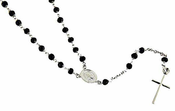 Immagine di Collana Girocollo Rosario con Medaglia Madonna Miracolosa e Croce gr 6,6 Oro bianco 18kt con Onice Unisex Donna Uomo