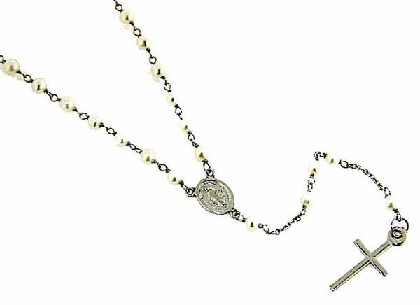 Picture of Long Rosary crew-neck Necklace with Miraculous Medal of Our Lady of Graces and Cross gr 6 White Gold 18k with Pearls for Woman