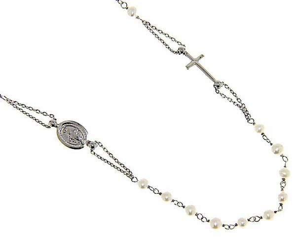 Picture of Rosary crew-neck Necklace with Miraculous Medal of Our Lady of Graces and Cross and through Chain gr 4,8 White Gold 18k with Pearls for Woman