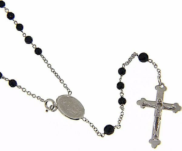Picture of Rosary crew-neck Necklace with Miraculous Medal of Our Lady of Graces and trilobed Cucifix gr 9 White Gold 18k with Onyx for Woman