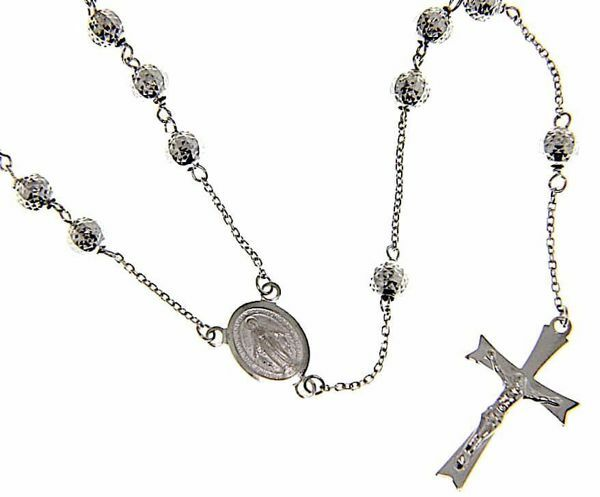 Picture of Long Rosary crew-neck Necklace with Miraculous Medal of Our Lady of Graces and 8-pointed Cucifix gr 12 White Gold 18k Diamond Spheres  Unisex Woman Man