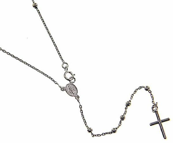 Picture of Rosary crew-neck Necklace with Miraculous Medal of Our Lady of Graces and Cross gr 3,6 White Gold 18k with Smooth Spheres for Woman