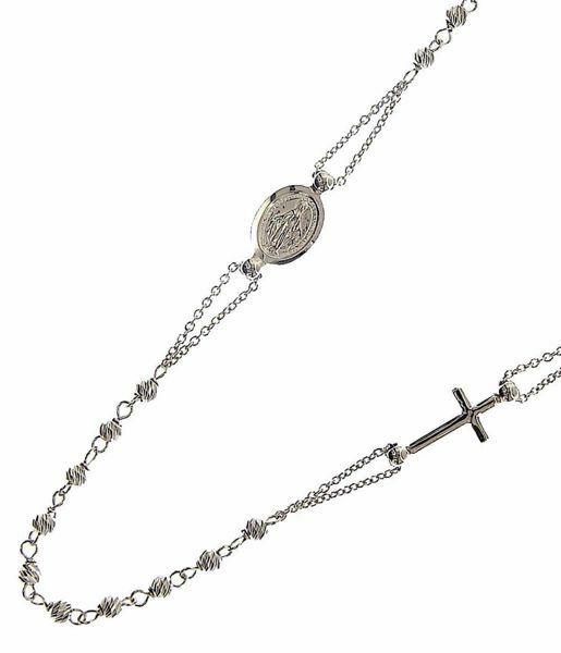 Imagen de Collar Rosario Cuello Redondo con Medalla Nuestra Señora Milagrosa y Cruz gr 4,8 Oro blanco 18kt con Esferas diamantadas para Mujer