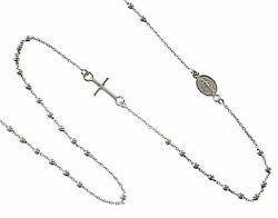 Picture of Rosary crew-neck Necklace with Miraculous Medal of Our Lady of Graces and Cross gr 2,0 White Gold 18k with Smooth Spheres Unisex Woman Man