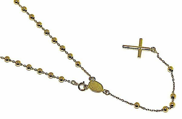 Picture of Rosary crew-neck Necklace with Miraculous Medal of Our Lady of Graces and Cross gr 5,5 Yellow Gold 18k with Smooth Spheres for Woman