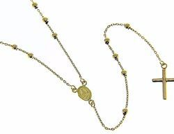 Picture of Rosary crew-neck Necklace with Miraculous Medal of Our Lady of Graces and Cross gr 7 Yellow Gold 18k with Smooth Spheres for Woman