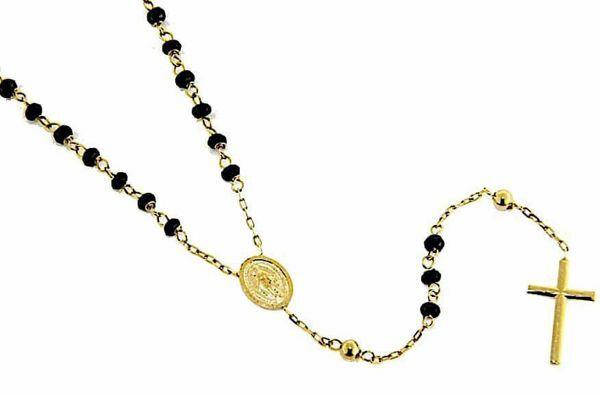 Immagine di Collana Girocollo Rosario con Medaglia Madonna Miracolosa e Croce gr 6,6 Oro giallo 18kt con Onice Unisex Donna Uomo