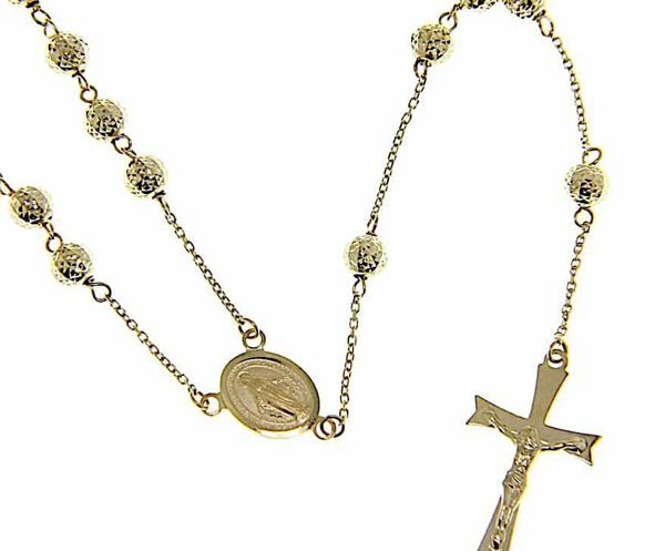 Picture of Long Rosary crew-neck Necklace with Miraculous Medal of Our Lady of Graces and 8-pointed Cross Cross gr 12 Yellow Gold 18k with Diamond Spheres