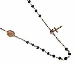 Picture of Rosary crew-neck Necklace with Miraculous Medal of Our Lady of Graces and Cross gr 5 Yellow Gold 18k with Onyx Unisex Woman Man