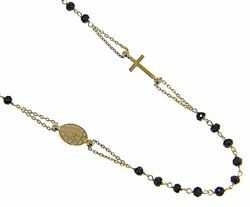 Picture of Rosary crew-neck Necklace with Miraculous Medal of Our Lady of Graces and Cross and through Chain gr 5,2 Yellow Gold 18k with Onyx Unisex Woman Man