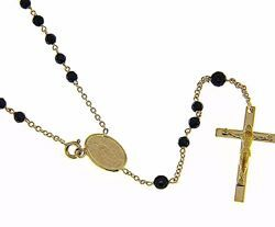 Picture of Rosary crew-neck Necklace with Miraculous Medal of Our Lady of Graces and Cucifix gr 9,4 Yellow Gold 18k with Onyx for Woman