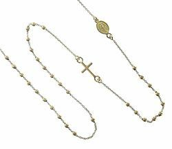 Picture of Rosary crew-neck Necklace with Miraculous Medal of Our Lady of Graces and Cross gr 2,0 Yellow Gold 18k with Smooth Spheres Unisex Woman Man