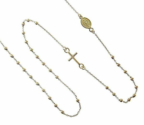 Imagen de Collar Rosario Cuello Redondo con Medalla Nuestra Señora Milagrosa y Cruz gr 2,0 Oro amarillo 18kt con Esferas lisas Unisex Mujer Hombre