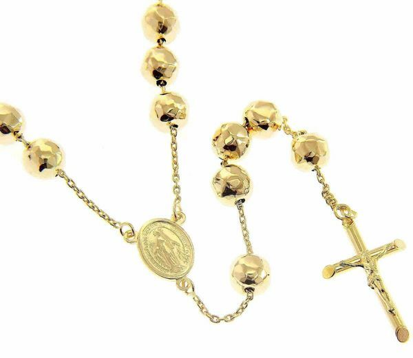 Picture of Long Rosary Necklace with Miraculous Medal of Our Lady of Graces and Cross gr 33 Yellow Gold 18k with Diamond Spheres for Woman