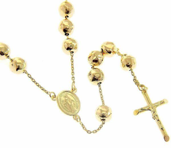 Imagen de Collar Rosario largo con Medalla Nuestra Señora Milagrosa y Cruz gr 33 Oro amarillo 18kt con Esferas diamantadas para Mujer