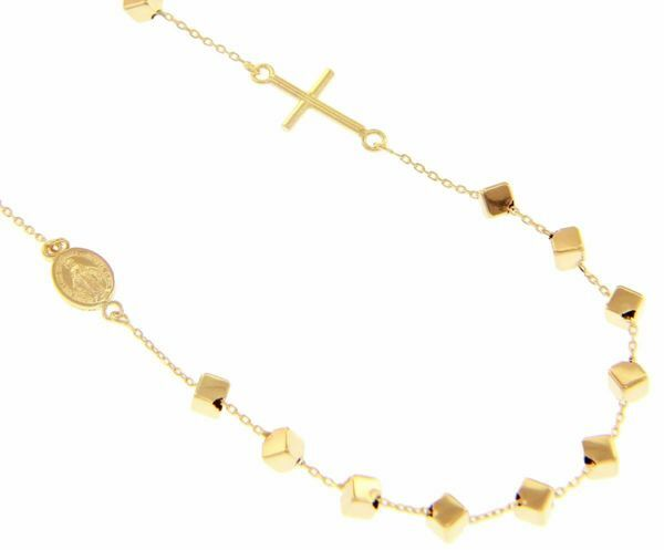 Picture of Rosary crew-neck Necklace with Miraculous Medal of Our Lady of Graces and Cross gr 4,3 Yellow Gold 18k with Cubes for Woman