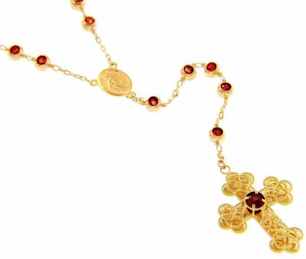Imagen de Collar Rosario Cuello Redondo con Cruz trilobulada Medalla Nuestra Señora Milagrosa y docenas con Granate gr 29,6 Oro amarillo 18kt para Mujer
