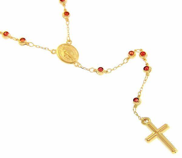 Immagine di Collana Girocollo Rosario con Medaglia Madonna Miracolosa Croce e decine con Granato gr 14,9 Oro giallo 18kt da Donna