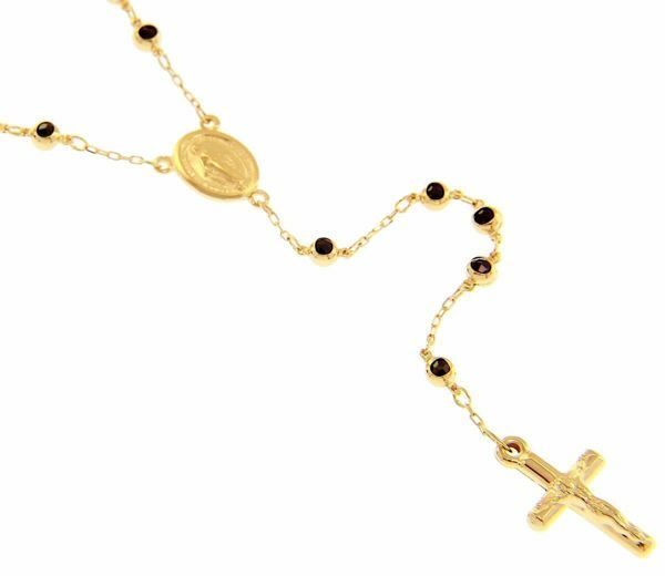 Picture of Rosary crew-neck Necklace with Miraculous Medal of Our Lady of Graces, Cross with Christ and Onyx beads gr 15,1 Yellow Gold 18k for Woman