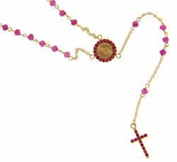 Picture of Long Rosary Necklace with Miraculous Medal of Our Lady of Graces Cross Light Spots and Ruby gr 4 Yellow Gold 18k with red Zircons for Woman and Girl
