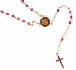 Immagine di Collana Rosario lunga con Medaglia Madonna Miracolosa e Croce punti luce e rubino opaco gr 4 Oro giallo 18kt con Zirconi rossi da Donna e Bimba