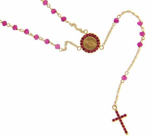 Imagen de Collar Rosario largo con Medalla Nuestra Señora Milagrosa y Cruz puntos de luz y Rubí gr 4 Oro amarillo 18kt con Zircones rojos para Mujer