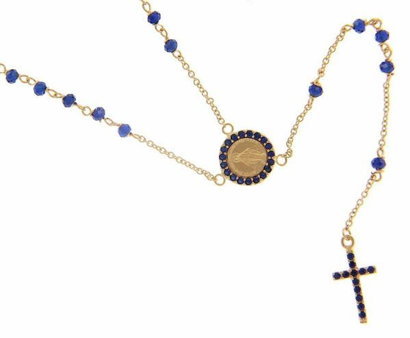 Picture of Long Rosary Necklace with Miraculous Medal of Our Lady of Graces Cross Light Spots and Sapphire gr 5 Yellow Gold 18k blue Zircons for Woman
