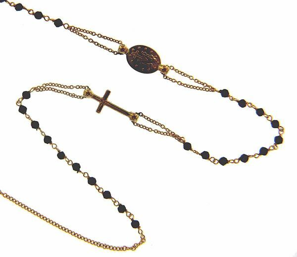 Picture of Rosary crew-neck Necklace with Miraculous Medal of Our Lady of Graces Cross and through Chain gr 3,7 Yellow Gold 18k with Onyx Unisex Woman Man