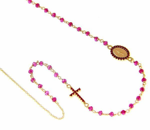 Immagine di Collana Girocollo Rosario con Medaglia Madonna Miracolosa e Croce punti luce e rubino opaco gr 4,7 Oro giallo 18kt con Zirconi rossi da Donna