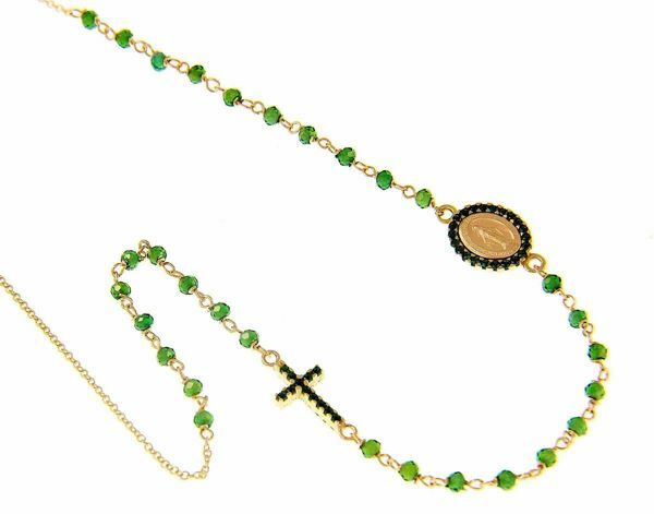 Picture of Rosary crew-neck Necklace with Miraculous Medal of Our Lady of Graces Cross Light Spots and Emerald gr 4,7 Yellow Gold 18k green Zircons
