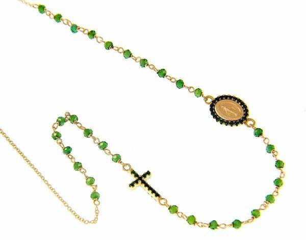 Imagen de Collar Rosario Cuello Redondo con Medalla Nuestra Señora Milagrosa y Cruz puntos de luz y Esmeralda gr 4,7 Oro amarillo 18kt Zircones verdes para Mujer y para Niña y Niño
