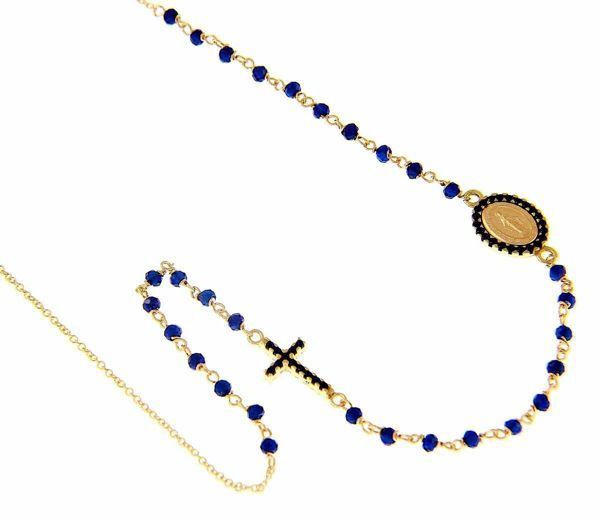 Picture of Rosary crew-neck Necklace Miraculous Medal of Our Lady of Graces Cross Light Spots and Sapphire gr 4,7 Yellow Gold 18k blue Zircons Unisex Woman Man Boy Girl