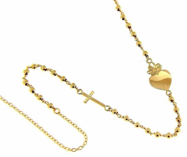 Picture of Rosary crew-neck Necklace with Sacred Heart of Jesus ex voto and Cross gr 6,3 Yellow Gold 18k with Ex Voto for Woman, Boy and Girl