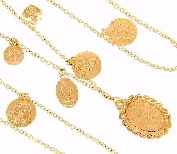 Imagen de Collar Rosario con Nuestra Señora Milagrosa y Medallas Símbolos de Fe gr 13,4 Oro amarillo 18kt para Mujer