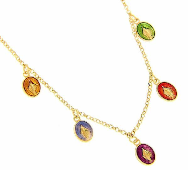 Picture of Rosary crew-neck Necklace with 5 Miraculous Virgin Mary Medals gr 5 Yellow Gold 18k with colored Enamels for Woman, Boy and Girl