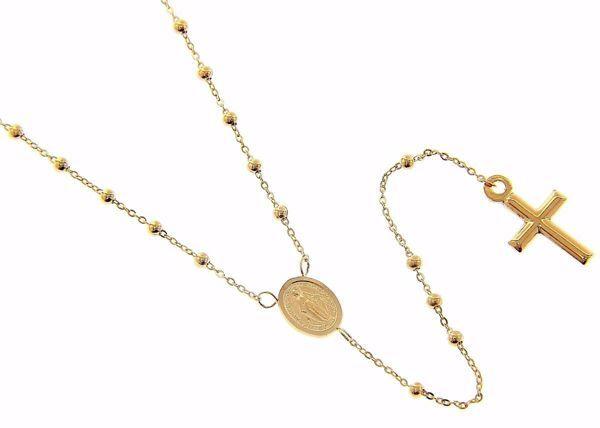 Immagine di Collana Girocollo Rosario con Medaglia Madonna Miracolosa e Croce gr 1,9 Oro giallo 9kt da Donna