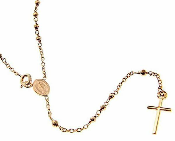 Picture of Long Rosary crew-neck Necklace with Miraculous Medal of Our Lady of Graces and Cross gr 6,2 Rose Gold 18k with Smooth Spheres for Woman
