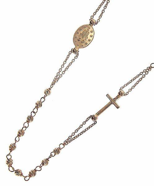 Immagine di Collana Girocollo Rosario con Medaglia Madonna Miracolosa e Croce gr 4,8 Oro rosa 18kt con Sfere diamantate da Donna