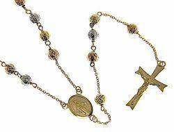 Imagen de Collar Rosario largo Cuello Redondo Medalla Nuestra Señora Milagrosa Cruz 8 puntas gr 12 Tricolor Oro blanco amarillo rosa 18kt Esferas diamantadas