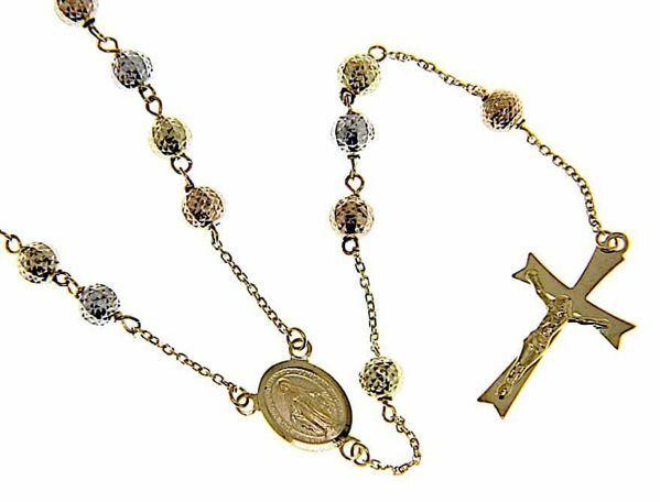 Immagine di Collana Girocollo Rosario lunga con Medaglia Madonna Miracolosa e Croce 8 punte gr 12 Tricolor Oro giallo bianco e rosa 18kt con Sfere diamantate
