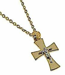 Picture of Fashion crew-neck Necklace Cross Pattée with Body of Jesus Christ gr 2,4 Bicolour yellow and white Gold 18k for Woman