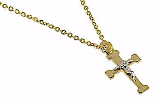 Picture of Crew-neck Necklace Cross with Body of Jesus Christ gr 2,2 Bicolour yellow and white Gold 18k for Woman