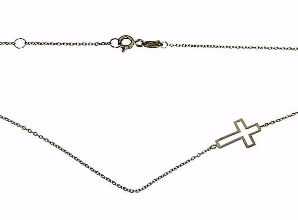 Immagine di Collana Girocollo Moda con Croce gr 2,1 Oro bianco 18kt da Donna