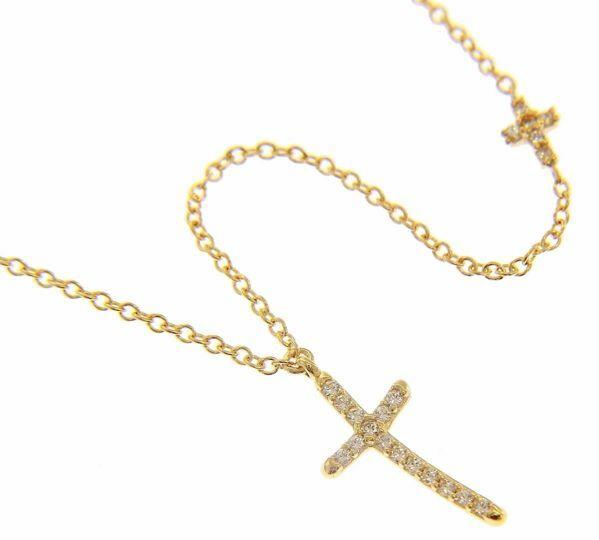 Imagen de Collar Cuello Redondo con Cruz grande y pequeña con puntos de Luz gr 2,6 Oro amarillo 18kt con Zircones para Mujer