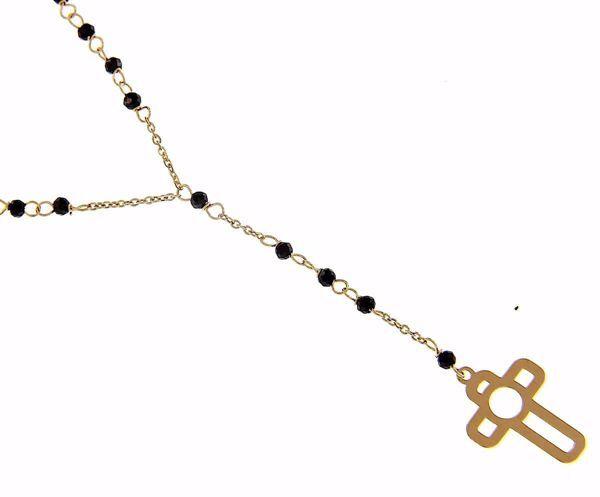 Imagen de Collar Cuello Redondo con Cruz grande perforada gr 1,6 Oro amarillo 18kt con Zircones negros para Mujer
