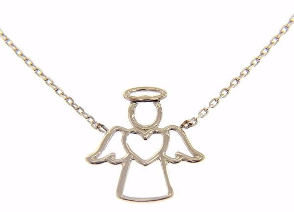 Picture of Crew-neck Necklace with Stylized Angel with Heart gr 2,2 White Gold 18k for Woman and Children (Boys and Girls)