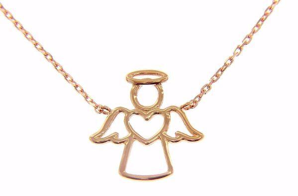 Imagen de Collar Cuello Redondo con Ángel estilizado con Corazón gr 2,3 Oro rosa 18kt para Mujer y para Niña y Niño
