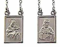 Picture of Crew-neck Necklace with the Scapular Medal of the Blessed Virgin of Carmel and Sacred Heart of Jesus gr 8,3 White Gold 18k Unisex Woman and Man