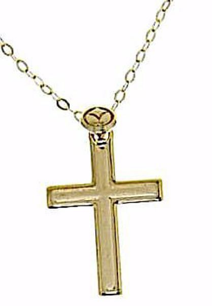 Picture of Fashion crew-neck Necklace with convex Straight Cross gr 1,7 Yellow Gold 18k Unisex for Woman and Man