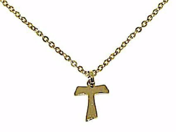 Picture of Fashion crew-neck Necklace Saint Francis Tau Cross gr 1,6 Yellow Gold 18k Unisex for Woman and Man